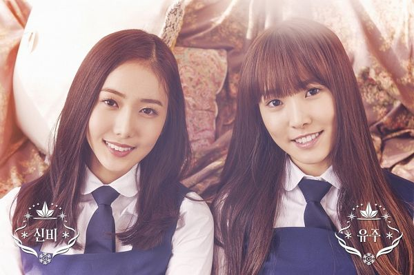 Tags: K-Pop, G-friend, Yuju, SinB, Duo, Pillow, Tie, Two Girls, Snowflake (G-friend)
