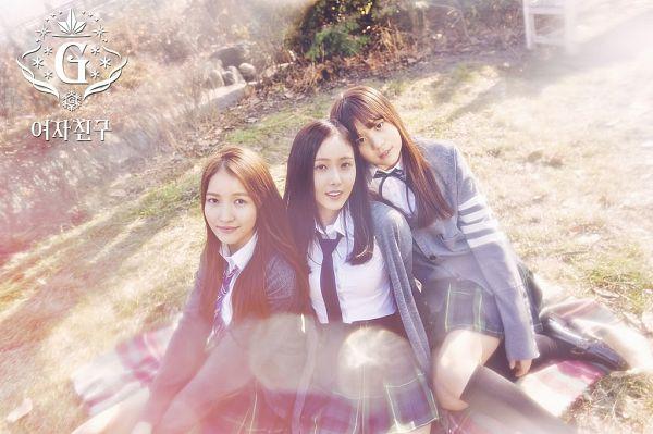 Tags: K-Pop, G-friend, Umji, SinB, Sowon, Tie, Grass, Sitting On Ground, Three Girls, Trio, Snowflake (G-friend)