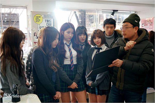 Tags: K-Pop, G-friend, Umji, Sowon, Yuju, SinB, Eunha, Tie, Skirt, Red Hair, SK Telecom