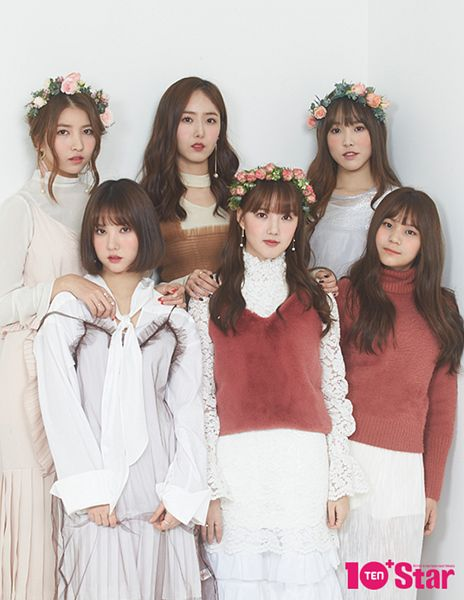 Tags: K-Pop, G-friend, Eunha, Umji, Yuju, Sowon, Jung Yerin, SinB, Red Lips, Earrings, Full Group, Gray Background