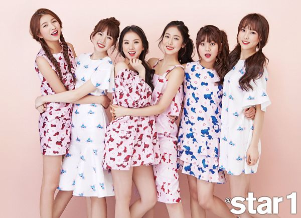 Tags: K-Pop, G-friend, SinB, Eunha, Umji, Yuju, Sowon, Jung Yerin, Hair Buns, Simple Background, Twin Braids, Standing