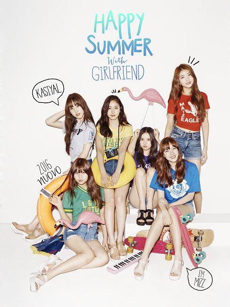 Tags: K-Pop, G-friend, SinB, Eunha, Umji, Yuju, Sowon, Jung Yerin, Standing, Green Shirt, Bent Knees, Denim Shorts