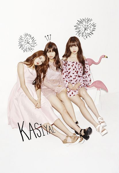 Tags: K-Pop, G-friend, Umji, Yuju, Sowon, Head On Shoulder, Bare Legs, Brown Footwear, Pink Dress, Black Footwear, Light Background, Sandals
