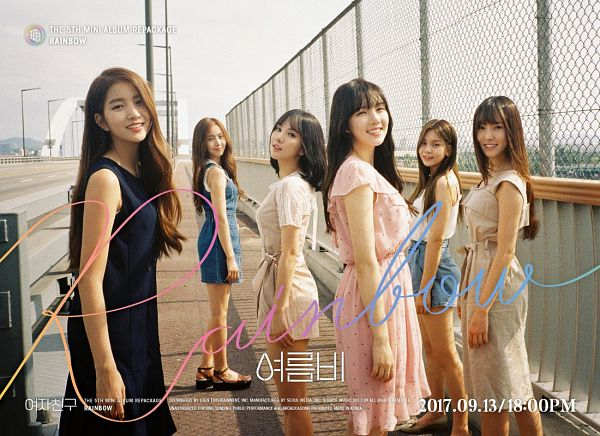 Tags: K-Pop, G-friend, Yuju, Sowon, Jung Yerin, SinB, Eunha, Umji, Pink Dress, Sandals, Bare Shoulders, Blue Dress
