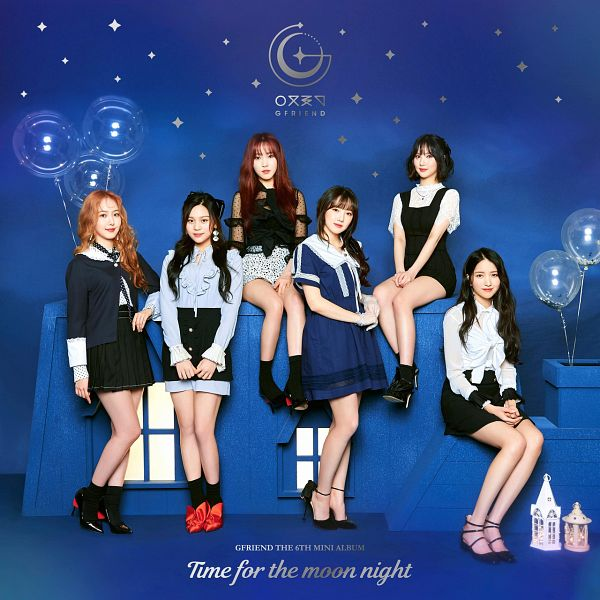 Tags: K-Pop, G-friend, Yuju, Sowon, Jung Yerin, SinB, Eunha, Umji, Sitting, Black Outfit, Blue Dress, Red Hair