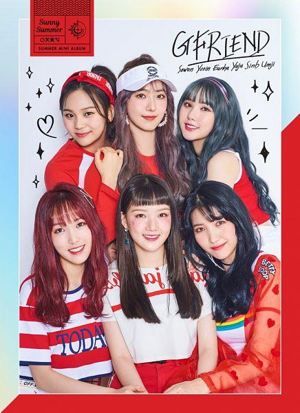 Tags: K-Pop, G-friend, Eunha, Umji, Yuju, Sowon, Jung Yerin, SinB, English Text, Striped, Text: Artist Name, Ponytail