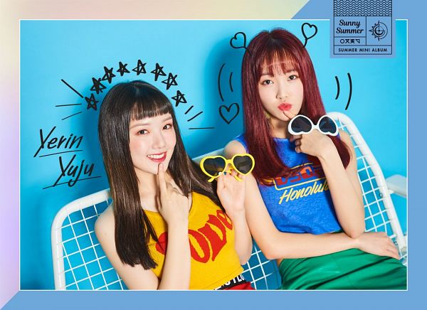 Tags: K-Pop, G-friend, Jung Yerin, Yuju, Sleeveless, Bench, Green Skirt, Red Hair, Yellow Shirt, Sleeveless Shirt, English Text, Text: Artist Name