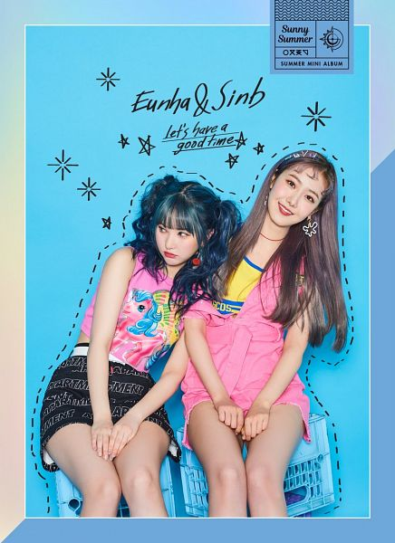 Tags: K-Pop, G-friend, SinB, Eunha, Cherry, Multi-colored Hair, Holding Close, Fruits, Blue Background, Text: Artist Name, English Text, Two Girls