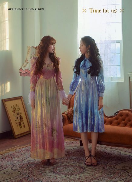 Tags: K-Pop, G-friend, Jung Yerin, SinB, Shoes, Blue Dress, Text: Artist Name, Couch, Two Girls, Holding Hands, Text: Album Name, Blue Outfit