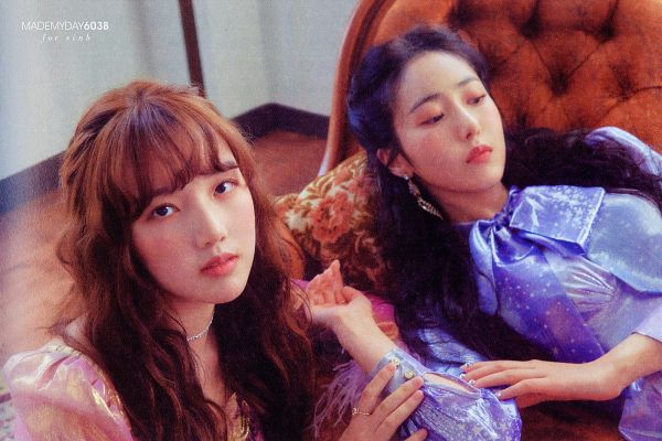 Tags: K-Pop, G-friend, Jung Yerin, SinB, Blue Outfit, Sitting, Duo, Laying On Sofa, Serious, Blue Dress, Bent Knees, Two Girls
