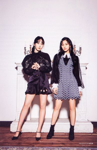 Tags: K-Pop, G-friend, Umji, SinB, Two Girls, Full Body, Duo, Black, Hair Up, Serious, Ponytail, Fireplace