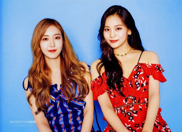 Tags: K-Pop, G-friend, Umji, SinB, Red Outfit, Duo, Necklace, Blue Dress, Red Lips, Red Hair, Two Girls, Red Dress