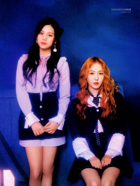 Tags: K-Pop, G-friend, Umji, SinB, Black Skirt, Two Girls, Red Hair, Duo, Skirt, Blue Background, Purple Shirt, Time for the Moon Night