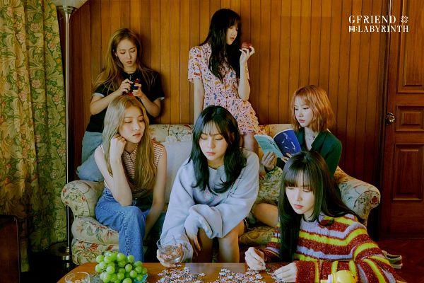 Tags: K-Pop, G-friend, SinB, Eunha, Umji, Yuju, Sowon, Jung Yerin, Curtain, Pomegranate, Book, Couch