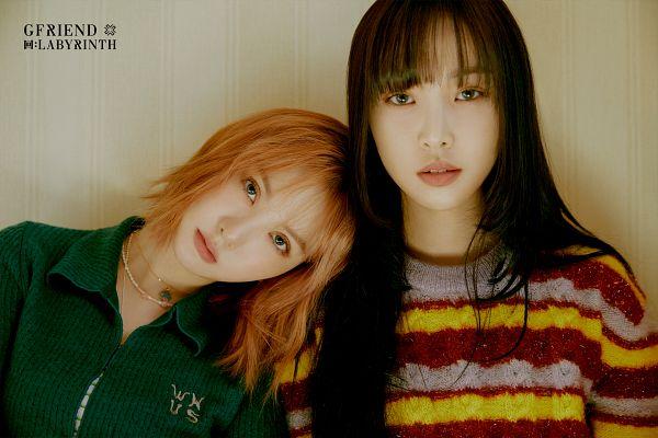 Tags: K-Pop, G-friend, Eunha, Yuju, Head On Shoulder, Two Girls, Medium Hair, Duo, Serious, Striped, Striped Shirt, Green Shirt