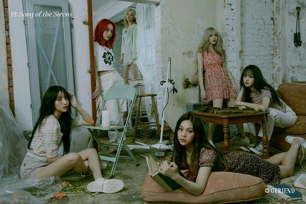 Tags: K-Pop, G-friend, Umji, Yuju, Sowon, Jung Yerin, SinB, Eunha, Book, Red Hair, White Pants, Chair