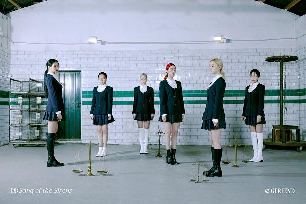 Tags: K-Pop, G-friend, Jung Yerin, SinB, Eunha, Umji, Yuju, Sowon, Eyes Closed, Black Outerwear, Scale, Skirt