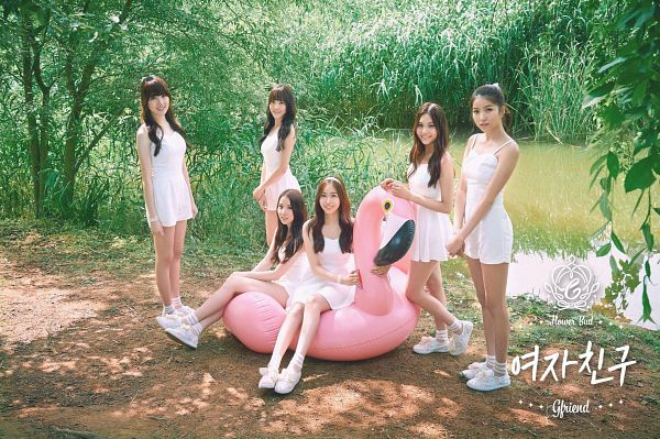 Tags: K-Pop, G-friend, Umji, Yuju, Sowon, Jung Yerin, SinB, Eunha, Tree, Plant, White Outfit, Full Group