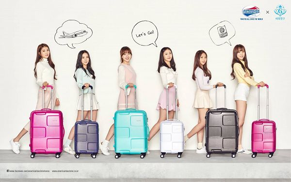 Tags: K-Pop, G-friend, Sowon, Jung Yerin, SinB, Eunha, Umji, Yuju, Suitcase, Full Group, Bag, American Tourister