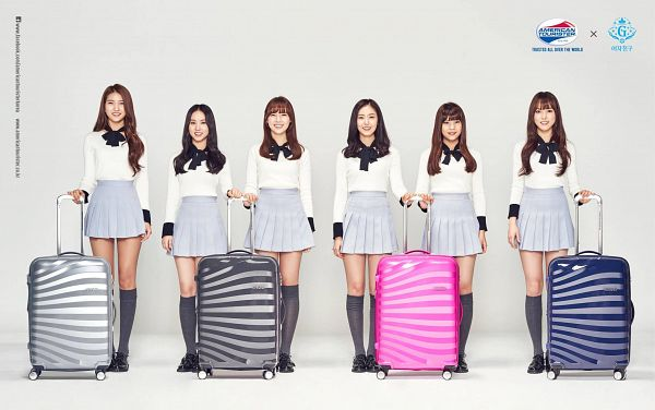 Tags: K-Pop, G-friend, Jung Yerin, SinB, Eunha, Umji, Yuju, Sowon, Suitcase, Full Group, Bag, American Tourister