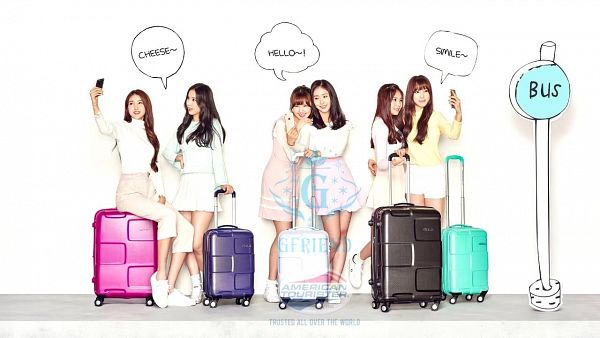 Tags: K-Pop, G-friend, Umji, Yuju, Sowon, Jung Yerin, SinB, Eunha, Suitcase, Full Group, Bag, Wallpaper