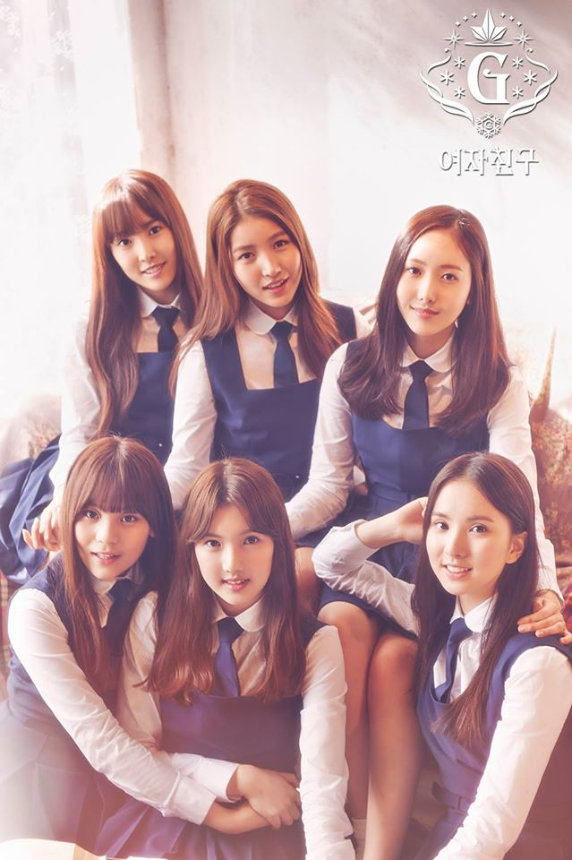 Tags: K-Pop, G-friend, SinB, Eunha, Umji, Yuju, Sowon, Jung Yerin, Blue Dress, Tie, Korean Text, Blue Outfit