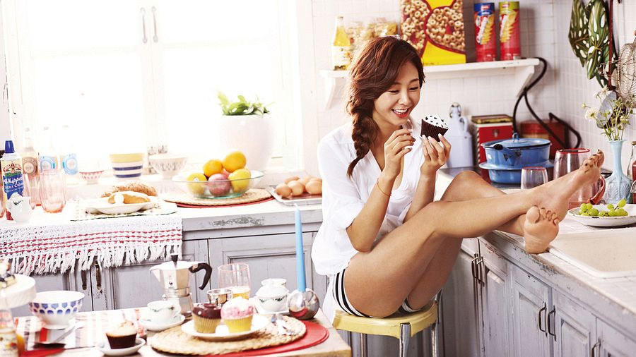 Tags: K-Pop, G.Na, Striped Shorts, Fruits, Food, Orange (Fruit), Cupcake, Bread, Shorts, Grapes, Cereal, Apple