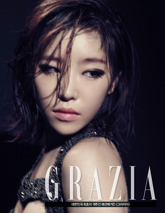 Tags: Brown Eyed Girls, Ga-In, Black Background, Text: Magazine Name, Looking Away, Dark Background, Medium Hair, Grazia Korea, Magazine Scan