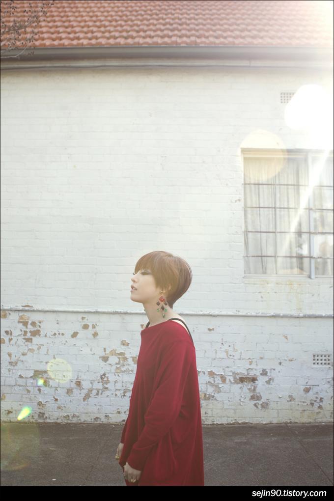 Tags: K-Pop, Brown Eyed Girls, Ga-In, Brick Background, Outdoors, Red Shirt, Looking Ahead, Eyes Half Closed