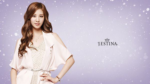 Tags: SM Town, K-Pop, Girls' Generation, Seohyun, Purple Background, Hand On Hip, Short Sleeves, Wavy Hair, Necklace, Text: Brand Name, White Outfit, Wallpaper