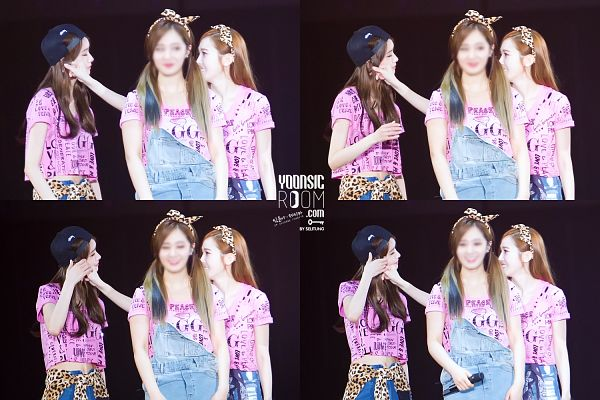 Tags: SM Town, K-Pop, Girls' Generation, Kwon Yuri, Jessica Jung, Im Yoona, Midriff, Looking At Another, Pink Shirt, Trio, Black Background, Matching Outfit