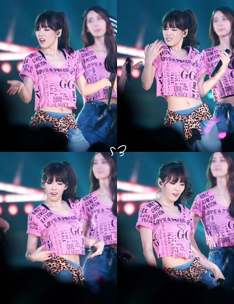 Tags: SM Town, K-Pop, Girls' Generation, Im Yoona, Kim Tae-yeon, Jeans, Duo, Matching Outfit, Pink Shirt, Eyes Closed, Navel, Midriff
