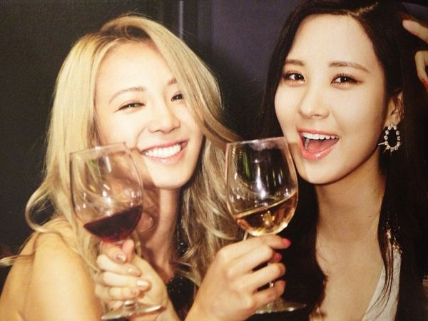Tags: SM Town, K-Pop, Girls' Generation, Seohyun, Kim Hyo-yeon, Duo, Glass (Cup), Wine Glass, Eyes Half Closed, Blonde Hair, Two Girls, Wine