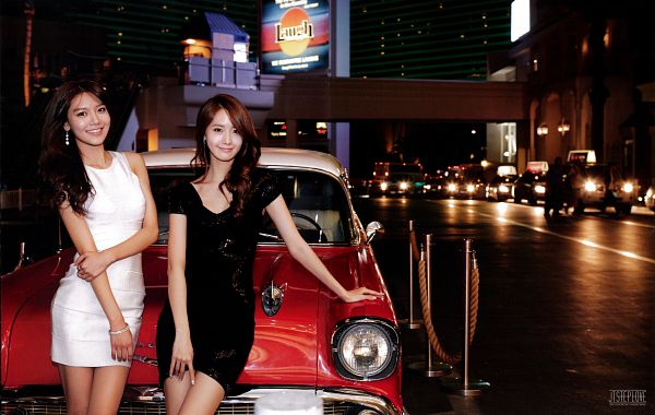 Tags: SM Town, K-Pop, Girls' Generation, Sooyoung, Im Yoona, Black Outfit, Black Dress, Car, Duo, White Dress, Hand On Arm, White Outfit