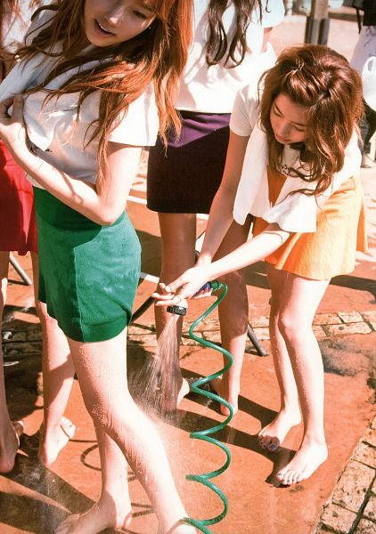 Tags: SM Town, K-Pop, Girls' Generation, Sunny, Kim Tae-yeon, Skirt, Looking Down, Matching Outfit, Barefoot, Purple Skirt, Orange Skirt, Green Skirt