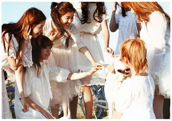 Tags: SM Town, K-Pop, Girls' Generation, Kim Tae-yeon, Seohyun, Im Yoona, Sunny, Jessica Jung, White Dress, Animal, Hold Out Hand, White Outfit