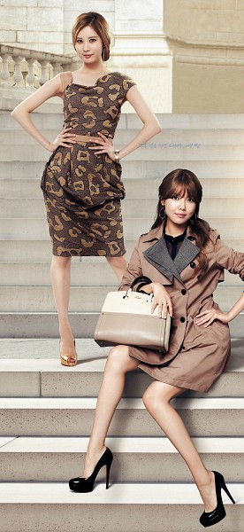 Tags: K-Pop, Girls' Generation, Seohyun, Sooyoung, Hair Up, Bare Legs, Belt, Bag, Sitting On Stairs, Sleeveless Dress, High Heels, Two Girls