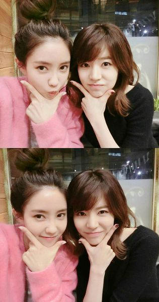Tags: K-Pop, Girls' Generation, Im Yoona, Sunny, Medium Hair, Pink Shirt, Pouting, Sweater, Chin In Hand, Two Girls, Hair Up, Duo