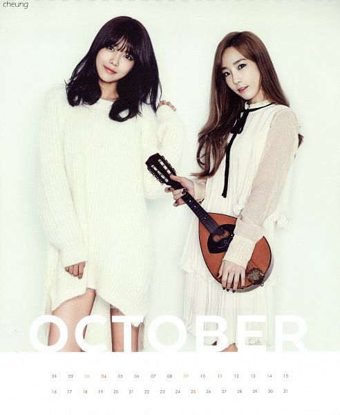 Tags: K-Pop, Girls' Generation, Kim Tae-yeon, Sooyoung, Two Girls, White Dress, Text: Calendar Date, Duo, Looking Away, Bare Legs, Musical Instrument, Light Background