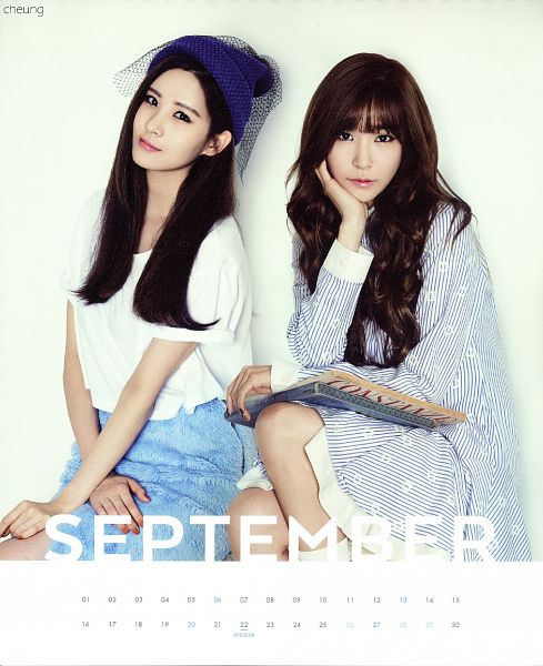 Tags: K-Pop, Girls' Generation, Seohyun, Stephanie Young Hwang, Two Girls, Hat, Duo, Skirt, Striped Dress, Blue Skirt, Girls' Generation 2015 Season'S Greetings, Calendar