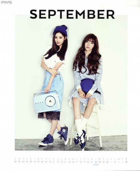 Tags: K-Pop, Girls' Generation, Seohyun, Stephanie Young Hwang, Shoes, Sneakers, Socks, Blue Skirt, Sitting On Chair, Hat, Two Girls, Blue Footwear
