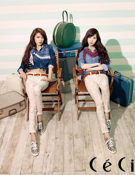Tags: K-Pop, Girls' Generation, Seohyun, Sooyoung, Bag, Chair, Crossed Arms, Shoes, Two Girls, Midriff, Text: Magazine Name, Hand On Hip
