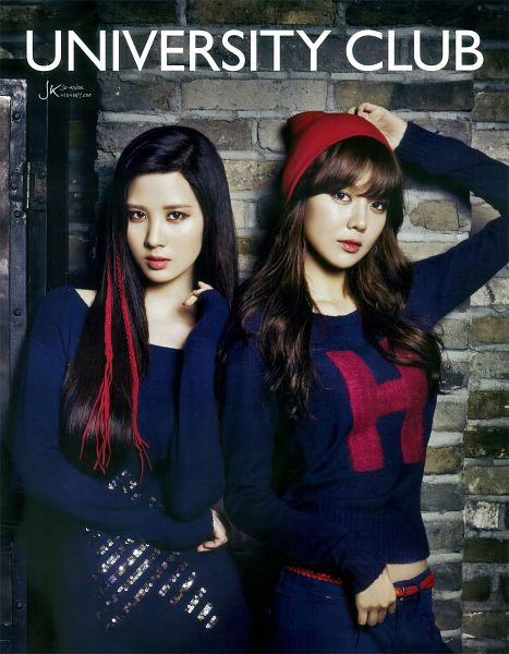Tags: K-Pop, Girls' Generation, Seohyun, Sooyoung, Two Girls, Black Outfit, Hand On Hat, Midriff, Brick Background, Hat, Duo, Black Pants