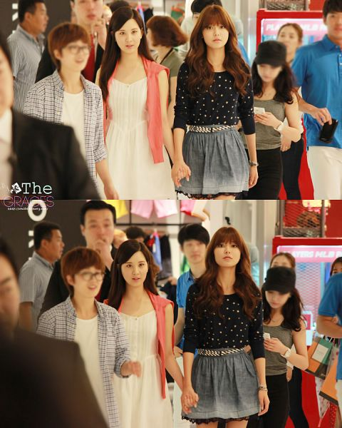 Tags: K-Pop, Girls' Generation, Sooyoung, Seohyun, Skirt, Two Girls, White Dress, Gray Skirt, Duo, Looking Away, Bare Legs, Pink Jacket