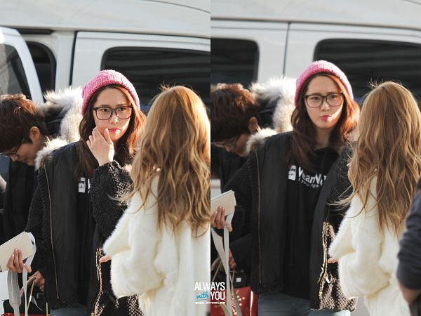 Tags: K-Pop, Girls' Generation, Im Yoona, Jessica Jung, Hand In Hair, White Outerwear, White Jacket, Glasses, Gray Pants, Looking Away, Black Outerwear, Car