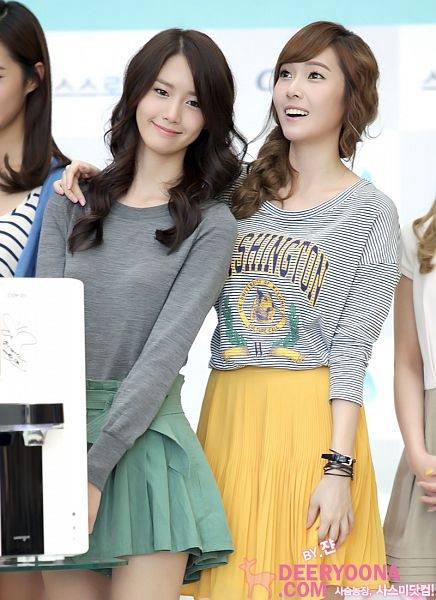 Tags: K-Pop, Girls' Generation, Im Yoona, Jessica Jung, Striped Shirt, Yellow Skirt, Wavy Hair, Two Girls, Green Skirt, Pleated Skirt, Bracelet, Duo