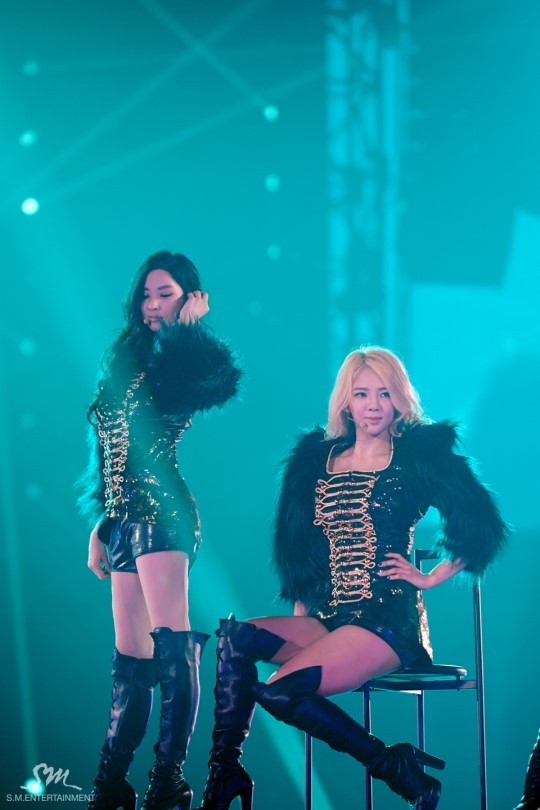 Tags: SM Town, K-Pop, Girls' Generation, Kim Hyo-yeon, Seohyun, Black Jacket, Two Girls, Hand In Hair, Hand On Hip, Duo, Matching Outfit, High Heeled Boots