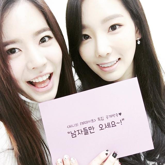 Tags: K-Pop, Girls' Generation, Kim Tae-yeon, Sunny, Nail Polish, Korean Text, Light Background, Two Girls, White Background, Sweater, Duo, Tongue