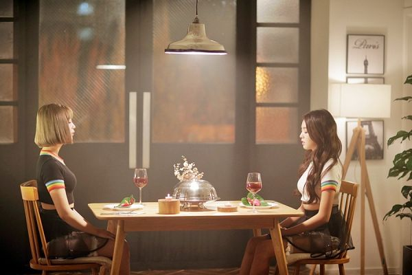 Tags: K-Pop, Berry Good, Kang Sehyung, Daye, Lamp, Blonde Hair, Cup, Chair, Glass (Cup), Sitting, Mole, Table