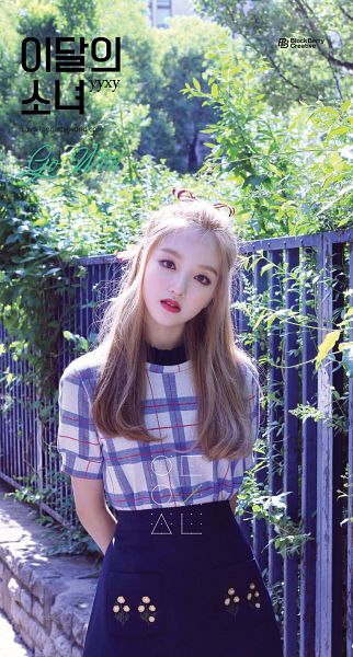 Tags: K-Pop, LOOΠΔ, Go Won, Text: Artist Name, Blue Skirt, Checkered Shirt, Korean Text, Text: URL, English Text, Serious, Red Lips, Arms Behind Back